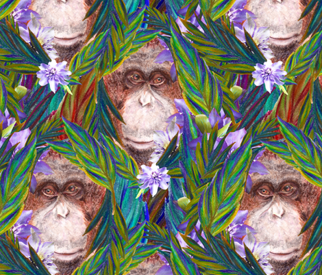 TROPICAL ORANGUTAN MONKEY CHALK PASTEL LAND ANIMAL blue green fabric by paysmage on Spoonflower - custom fabric