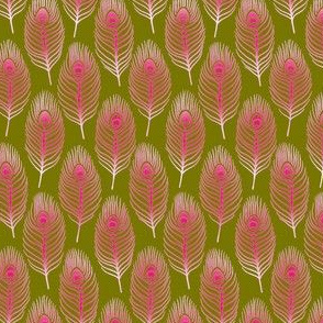 Peacock Feather 1 Olive Magenta