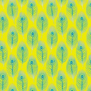 Peacock Feather 1 Yellow Blue