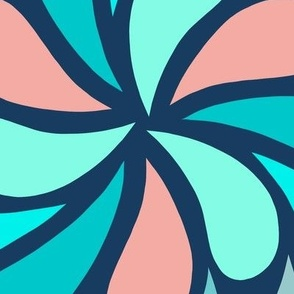 In a Spin 70s XL  navy teal coral