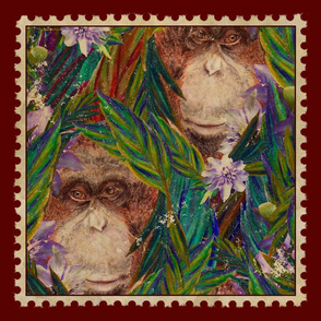 "18"" VINTAGE STAMP ORANGUTAN MONKEY green blue with seam allowance"