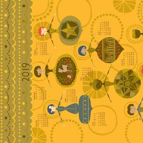 Vintage Ornaments {Gold} 2019 Calendar Tea Towel