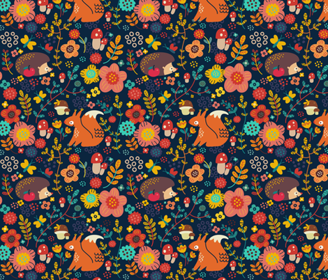 Animals of my forest fabric by toy_joy on Spoonflower - custom fabric