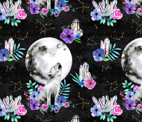 Howling baby wolf - black fabric by colourcult on Spoonflower - custom fabric
