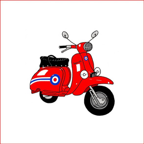 Quilt Squares Red Mod Scooter