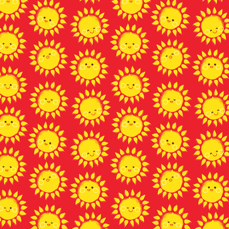 sunny suns in Red fabric by irrimiri on Spoonflower - custom fabric