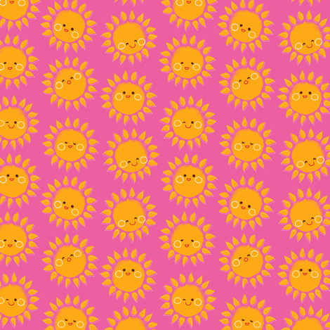 Sunny Suns in pink fabric by irrimiri on Spoonflower - custom fabric