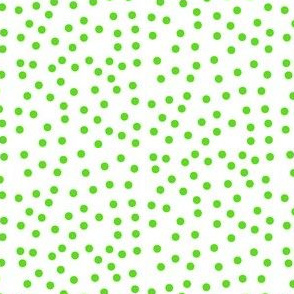 Twinkling Lime Green Dots on Snowy White - Medium Scale