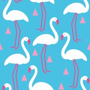 white and pink flamingos-on-blue