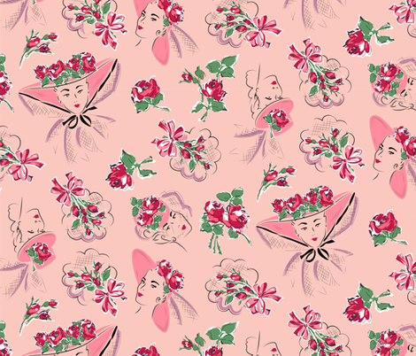 Perfectly posied - rose fabric by tuppencehapenny on Spoonflower - custom fabric