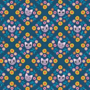 Kitty Cat - coordinate diamond navy