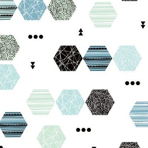 Inky texture polygon abstract geometric minimal pastel Scandinavian mid century design mint blue