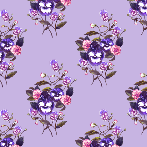 Pansy Royal Purple Lavender fabric by thistleandfox on Spoonflower - custom fabric