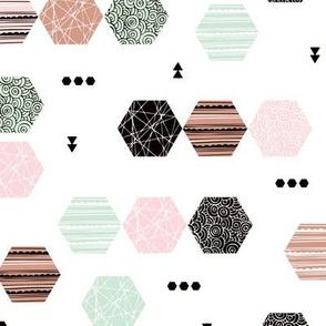 Inky texture polygon abstract geometric minimal pastel Scandinavian mid century design mint pink