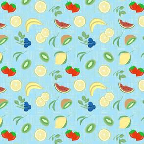 fruit fabric blue