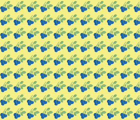 Blueberries on Yellow fabric by lonna_jordan on Spoonflower - custom fabric