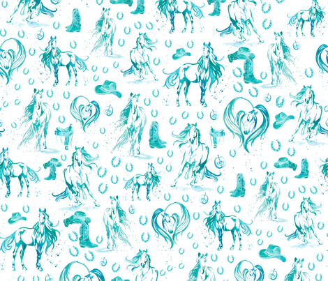Running With Horses Western Version - Medium fabric by gingerlique on Spoonflower - custom fabric