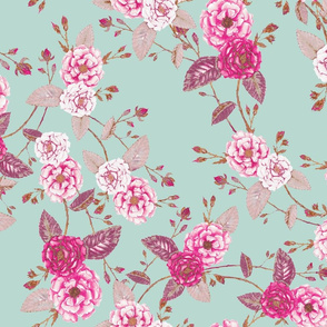 Briar Rose, Chinoserie Vintage Boho Pink & Turquoise