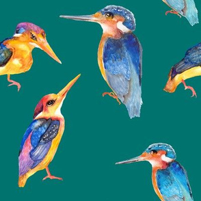 watercolor kingfisher birds on teal emerald green
