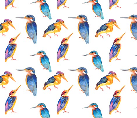 watercolor painted kingfisher birds on white fabric by paysmage on Spoonflower - custom fabric