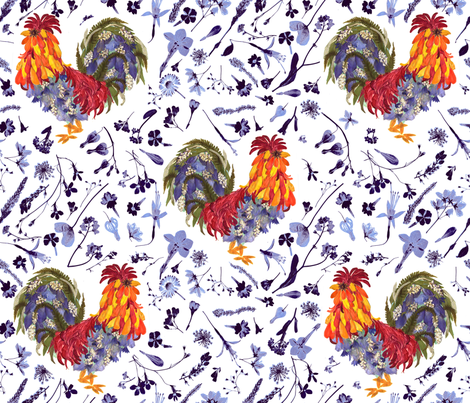 Rooster kitchen Garden fabric by mypetalpress on Spoonflower - custom fabric