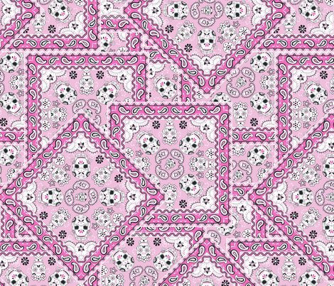 Skull-Bandana-Mexican-pinks fabric by paisleypower on Spoonflower - custom fabric