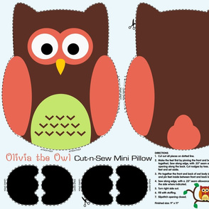 Olivia the Owl Cut and Sew Pillow Brown