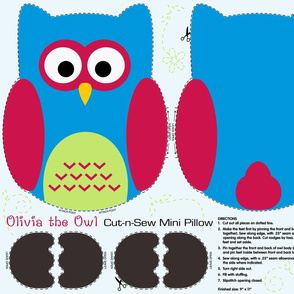 Olivia the Owl Cut and Sew Pillow Blue
