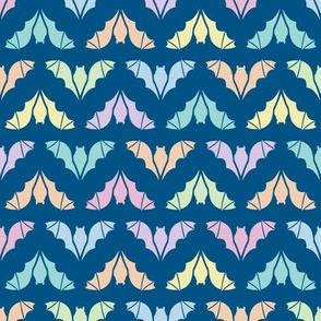 Colorful Flying Bats on Blue