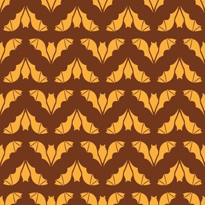 Flying Bats Orange on Brown