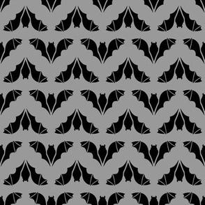 Flying Bats Black on Gray