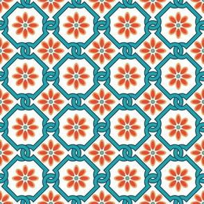 Spanish Floral Tile Inspired Aqua Orange on White