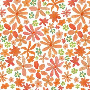 orange pink swirl - white background