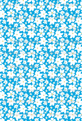 floral charcoal - white flowers on blue