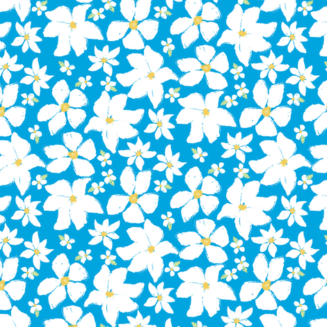 floral charcoal - white flowers on blue fabric by gentlysmilingjaws on Spoonflower - custom fabric