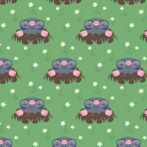 Cute little moles fabric by petitspixels on Spoonflower - custom fabric