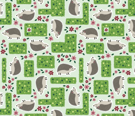 Hedges and Hedgehogs fabric by brendazapotosky on Spoonflower - custom fabric