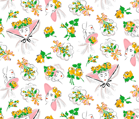 Perfectly posied - yellow roses fabric by tuppencehapenny on Spoonflower - custom fabric