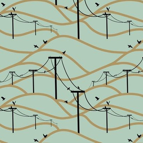 Birds on a wire (teal)