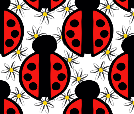 Red Ladybugs and White with Yellow Daisies fabric by christiebcurator on Spoonflower - custom fabric
