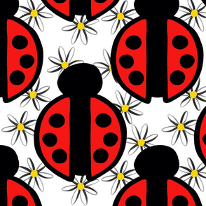 Red Ladybugs and White with Yellow Daisies