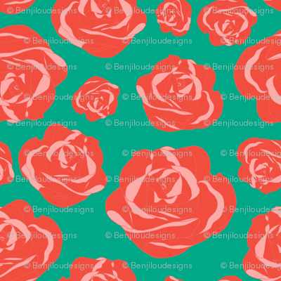 Pink and Peachy Roses on Teal