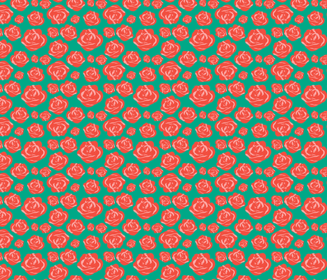 Pink and Peachy Roses on Teal fabric by benjiloudesigns on Spoonflower - custom fabric