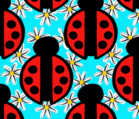 Ladybugs and Daisies Blue Background fabric by christiebcurator on Spoonflower - custom fabric