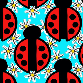 Ladybugs and Daisies Blue Background