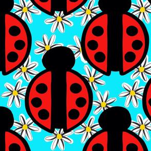 Ladybugs and Daisies Blue Background