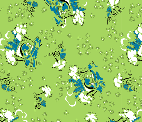 Central Park in springtime - green fabric by tuppencehapenny on Spoonflower - custom fabric