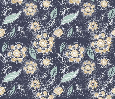 flora boho fabric by rosebudstudio on Spoonflower - custom fabric