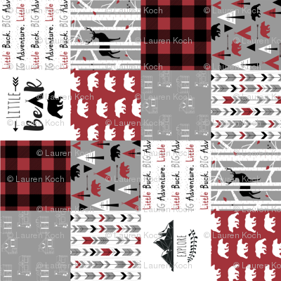"""3"""" block the woodsman cheater quilt (rotated 90)"""