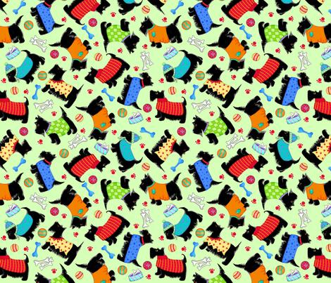 Scottie Toss Multicolor on Green fabric by phyllisdobbs on Spoonflower - custom fabric